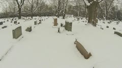 Walking through Cemetery in Winter Part 2 Stock Footage