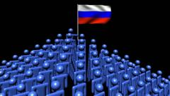 Zooming out from pyramid of men with rippling Russian flag animation Stock Footage