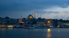 The Suleymaniye Mosque in the late evening, time-lapse Stock Footage