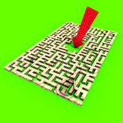 Arrow over a labyrinth Stock Illustration