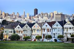 Famous alamo square Stock Photos