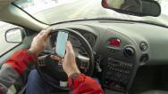 Man drives and text in cell phone as driving HD Stock Footage