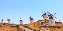 windmills of consuegra landmark, panorama. castile la mancha, spain, europe. - stock photo