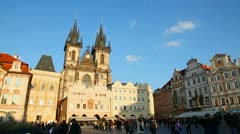 Old Town Square with tourists in Prague Stock Footage