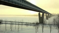 Subway bridge across the Ob River, Novosibirsk, Russia Stock Footage
