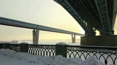 Bottom View at Two bridges in winter, Novosibirsk, Russia Stock Footage