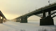 Communal bridge across the Ob River, Novosibirsk, Russia Stock Footage
