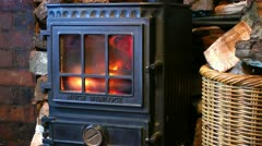 Wood Burning Stove Fireplace Stock Footage