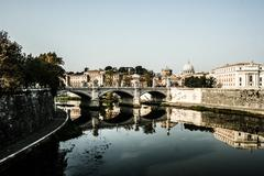 St peters basilica and river tibra in rome, italy Stock Photos