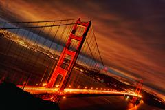 sunset at golden gate bridge - stock photo