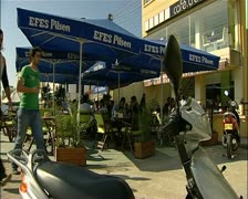 Famagusta northern Cyprus outside cafe in the city 16:9 PAL Stock Footage