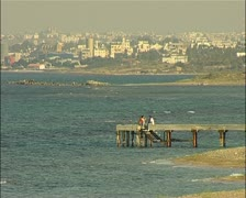 Famagusta Cyprus ocean front foreground with city background 16:9 PAL Stock Footage