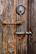 door lock, handle and latch - stock photo