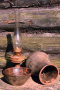betty lamp, jug and bowl - stock photo