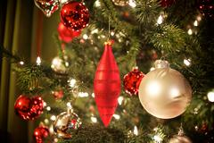 Christmas tree and decorations - stock photo