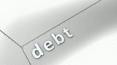 Concept animation, growing chart - Debt. Stock Footage
