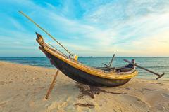 fisherman boat - stock photo