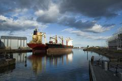 Large ships moored Stock Photos