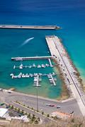 porto santo harbor vertical - stock photo