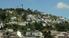 El Panecillo and panoramic view of Quito Stock Footage