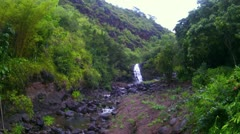 WATERFALL TROPICAL HAWAII WAIMEA FALLS Stock Footage