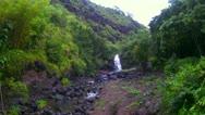 WATERFALL TROPICAL HAWAII WAIMEA FALLS Stock Footage