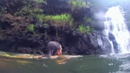 BEAUTIFUL WOMAN FEMALE GIRL SWIMMING WATERFALL TROPICAL HAWAII WAIMEA FALLS Stock Footage