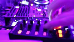 Timelapse of Djs deck in night club. Low frame rate, camera zooms in and out Stock Footage