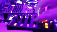 Stock Video Footage of Timelapse of Djs deck in night club. Low frame rate, camera zooms in and out