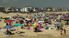 Crowd vacation people at New Jersey Beach Stock Footage