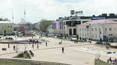 Central square of Dmitrov city in Moscow region, Russia Stock Footage