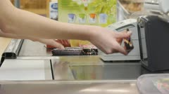 Cash-desk with cashier - stock footage