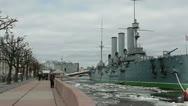 Panorama of Saint-Petersburg with Cruiser Aurora Stock Footage