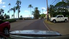 HALEIWA FAMOUS BRIDGE OAHU HAWAII DRIVE CONVERTIBLE POV SURF TOWN VACATION TOUR Stock Footage