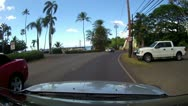 HALEIWA FAMOUS BRIDGE OAHU HAWAII DRIVE CONVERTIBLE POV SURF TOWN VACATION TOUR Stock Footage