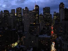 New York City night lights - stock photo