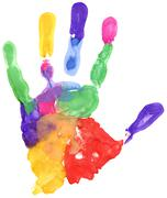 close up of colored hand print - stock illustration