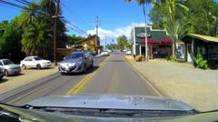HALEIWA OAHU HAWAII DRIVE CONVERTIBLE POV SURF TOWN VACATION TOURIST Stock Footage