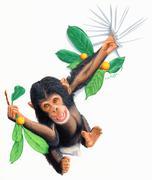 Swinging chimp Stock Illustration