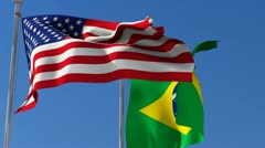 Flag of Usa and Brazil Stock Footage