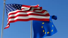 Flag of Usa and European Union - stock footage
