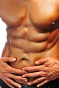 the perfect male body isolated, bodybuilder champ - stock photo