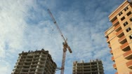 Lifting construction crane. construction site Stock Footage