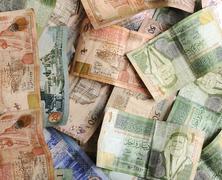 arabic money banknotes - stock photo