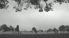 B AND W The Normandy American Cemetery (11) Stock Footage