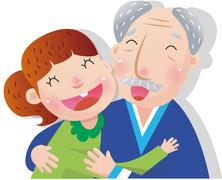 Grandfather With Granddaughter - stock illustration