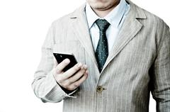 Business man working with phone Stock Photos