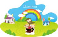 Jesus Christ and the Children Stock Illustration