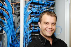 Administrator at server room Stock Photos
