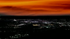 Denver skyline with eerie orange cloud cover Stock Footage